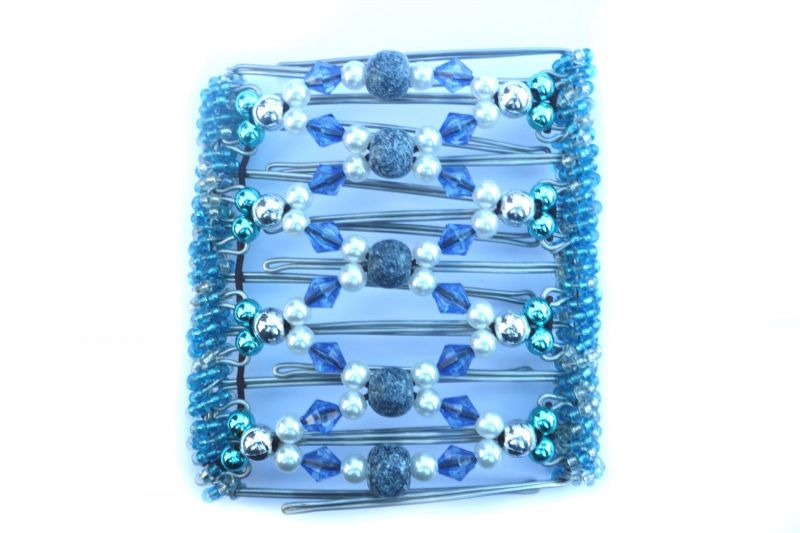 Pretty Blue and Pearl Original One Clip  - 9 prongs, approx 10cm