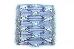Blue and Pearl Beaded Original One Clip  - 9 prongs, approx 10cm
