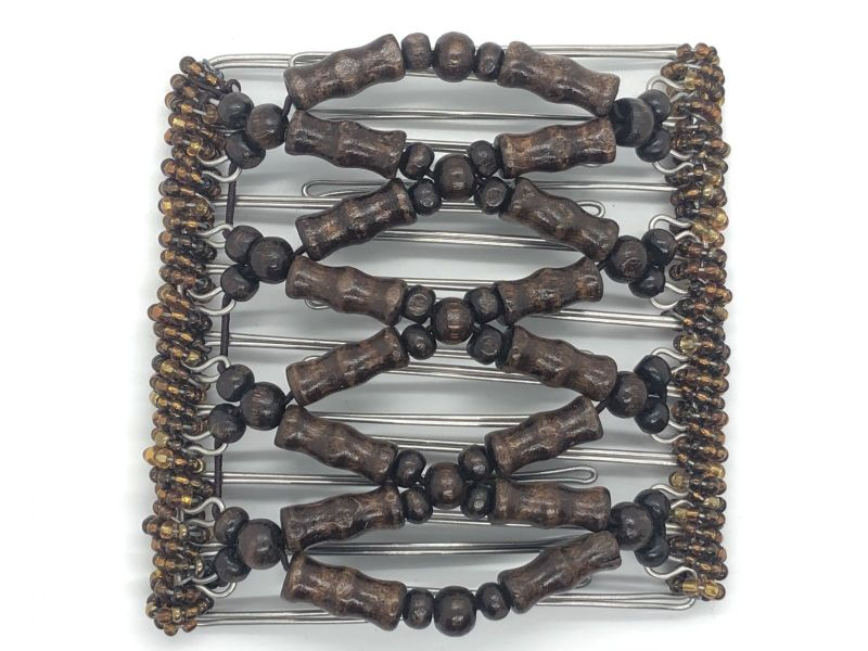 Butterfly Hair Clip Original 9 Prongs| Brown Wooden Beads