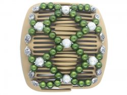African Butterfly hair clip on blonde interlocking combs | Pretty Green and Silver Beads